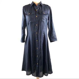 Lauren Ralph Lauren Navy Linen Shirtdress